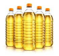 Group of plastic bottles with vegetable cooking oil Stock Photos