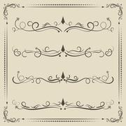 Calligraphic design vector elements, curves and spirals. Stock Illustration