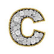 Hand drawn floral alphabet design. Gold glittering contour. Letter C Stock Illustration