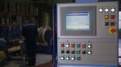 Industrial control panel, display at a modern industrial equipment. Workers Stock Footage