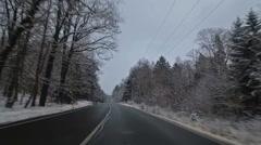 Winter road in the Czech Republic Stock Footage