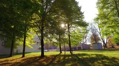 Leaf fall in the autumn city park. Slow motion footage. Stock Footage