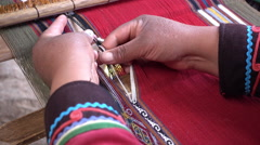 Weaver Loom Close Up Hands Stock Footage