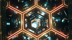 Aircraft pilot POV flying through futuristic tunnel, hexagonal cells, honeycomb Stock Footage