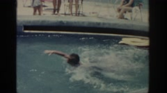 1962: people swimming outdoors fast splashes quick moves RHODES GREECE Stock Footage