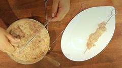 To skewer skewers Grilled Chicken Kebabs with yogurt Stock Footage