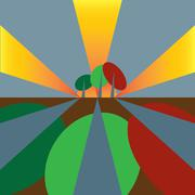 Three trees with long shadows in dusk Stock Illustration