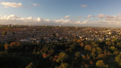 Amsterdam at Golden Hour, aerial Stock Footage