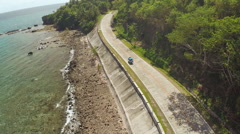 Winding road along the coast of the Philippines Stock Footage