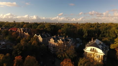 Amsterdam villa's, park and horizon, aerial Stock Footage