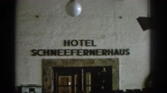 1963: a brief filming of the hotel schneefernerhaus sign MUNICH GERMANY Stock Footage