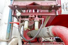 Coupler on corrugated suction hose Stock Photos