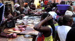 Women fishmongers city market -Bandim Guinea Africa Stock Footage