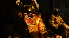 The astronauts are preparing for flight in outer space. Stock Footage