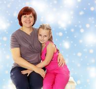 Portrait of mother and little daughter 7 years old Stock Photos