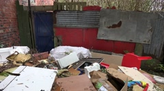 Waste tipped out, garbage dumped out illegally, fly tipping Stock Footage