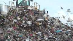 Bulldozer scraping junk across a landfill Stock Footage