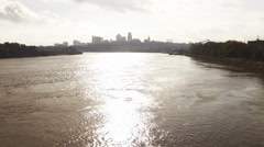 Morning Aerial over Missouri River in Kansas Stock Footage