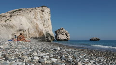 Vacationers near Petra Tou Romiou rocks, Cyprus Stock Footage