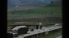 1962: a family during an outing in the field with amazing landscape EPHESUS Stock Footage