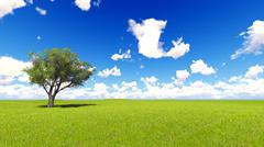 Tree field of grass and perfect sky landscape 3D rendering Stock Illustration