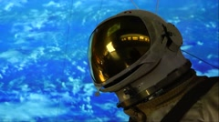 Flying astronaut in outer space. Stock Footage