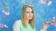 Beautiful young model in the form of princess Stock Footage
