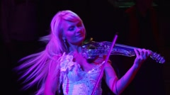 Portrait of a violinist who plays the violin and dancing transparent Stock Footage