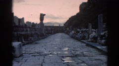 1962: the remnants of stony structure along the side of a cliff EPHESUS TURKEY Stock Footage