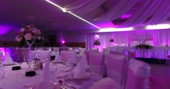 Footage of a pink-purple scene in a restaurant waiting for the nuptials Stock Footage
