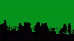 Silhouettes of bikers, tourists, jogger, familes, green screen Stock Footage