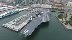 Aircraft carrier Drone flyover Stock Footage