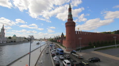 Moscow Kremlin and embankment of the Moscow river in a Sunny day Stock Footage