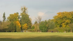 Autumn Day. in the Old Park Autumn. Recreation People. on Nature Stock Footage