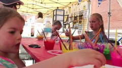 Little girl at Art Table Stock Footage