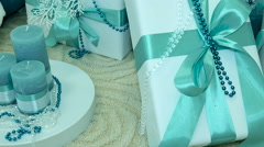 Presents under decorated Christmas tree. close-up Stock Footage