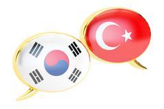 Speech bubbles, Korean-Turkish translation concept. 3D rendering Stock Illustration