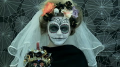 Portrait of a model wearing a mask for Halloween Stock Footage