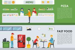 Pizza Menu and Fast Food flat concept web vector illustration. Pizzeria Bistro Stock Illustration