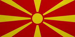 Flag of Macedonia real detailed fabric texture Stock Photos