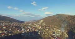 Carpathian cityscape and mountain river. 4k, 25fps Stock Footage