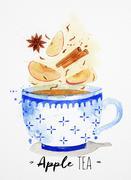 Teacup apple tea Stock Illustration