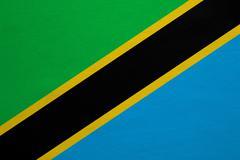 Flag of Tanzania real detailed fabric texture Stock Photos