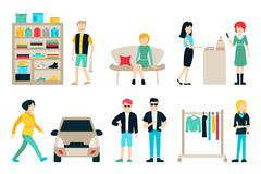 Vector shopping and shipping flat icons set. Mall Staff, Happy Buyers Isolated Stock Illustration