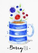 Teacup berry tea Stock Illustration