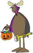 Moose in a vampire costume Stock Illustration