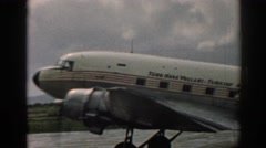 1962: small aircraft seen moving slowly with us flags pattern all over it Stock Footage