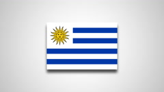 4K - Uruguay country flag Stock Footage