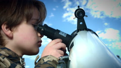 4k Technology and Astrology Child with Telescope Exploring the Sky Stock Footage