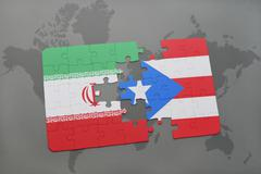 Puzzle with the national flag of iran and puerto rico on a world map backgrou Stock Photos